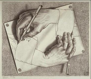 MC-Escher-Drawing-Hands-1948