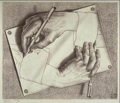 MC-Escher-Drawing-Hands-1948
